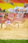 MOSCOW - JUN 11: Anna Krylova in sandpit at Grand Sports Arena of Luzhniki OC during International a