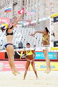 MOSCOW - JUNE 6: Brazil athletes play volleyball in Country Quota at tournament Grand Slam of beach