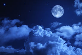pic of moonlight  - Tragic night sky with a full moon and shining stars - JPG