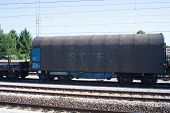 picture of railcar  - View of a Wagon of steel in the railroad - JPG
