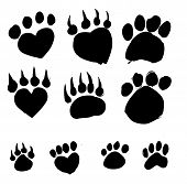 stock photo of dog tracks  - an images of   Animal Foot prints icon sign - JPG