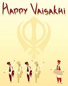 picture of salwar-kameez  - an illustration of a happy vaisakhi greeting card with sikh symbol and punjabi dancers on a sunshine yellow background - JPG