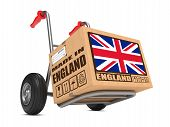 Made in England - Cardboard Box on Hand Truck.