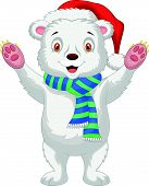 stock photo of bear cub  - Vector illustration of Cute baby polar bear cartoon wearing red hat - JPG