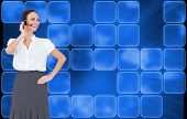 foto of smart grid  - Composite image of cheerful smart call center agent working while posing - JPG