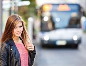 picture of scandinavian descent  - Attractive girl at the bus stop - JPG