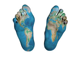 pic of autopsy  - Human feet isolated on white world map print - JPG
