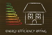 stock photo of fuel efficiency  - house with energy efficiency levels graph energetic consumption - JPG