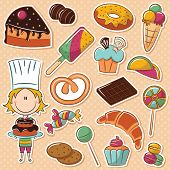 image of confectioners  - Cute girl confectioner with different tasty sweets - JPG