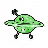 stock photo of flying saucer  - cartoon flying saucer - JPG