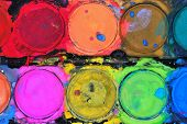 pic of paint palette  - Used water color paint palette by a child - JPG