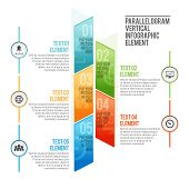 foto of parallelogram  - Vector illustration of parallelogram vertical infographic element - JPG