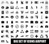 pic of air hostess  - Set of icons airport on white background - JPG
