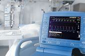 stock photo of icu  - ICU room and cardiovascular monitor - JPG
