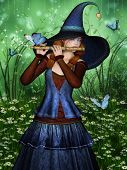 stock photo of flute  - Dreamy Fairy playing the flute in a forest glade - JPG