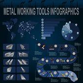 stock photo of ferrous metal  - Set of metal working tools Infographics - JPG