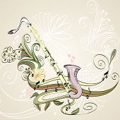 foto of clarinet  - drawn illustration of a musical instrument clarinet - JPG