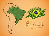 image of bundle  - Brazil Map and National Flag Vector background art - JPG