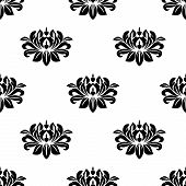 stock photo of dainty  - Dainty floral damask style fabric pattern with a small repeat arabesque motif in a seamless pattern in square format - JPG