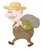 foto of carry-on luggage  - Old man in a straw hat carries a canvas bag - JPG