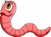 picture of garden snake  - cheerful pink worm on white background vector and illustration - JPG