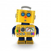 stock photo of robotics  - Cute yellow vintage toy robot with a surprised facial expression over white background - JPG