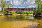 pic of yesteryear  - Cox Ford Covered Bridge built in 1913 crosses Sugar Creek along the west edge of Indiana - JPG