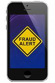 pic of hustle  - Cell Phone with Fraud Alert Message Warning isolated on a white background - JPG