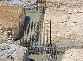 image of reinforcing  - foundation beams of a reinforced concrete building - JPG