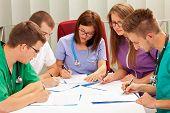 foto of emergency treatment  - A medical team meeting in the hospital - JPG