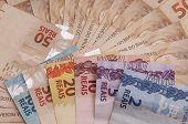 image of brazilian money  - A few bills of brazilian currency  - JPG