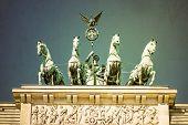 stock photo of rebuilt  - Vintage Brandenburg Gate  - JPG
