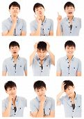image of outrageous  - asian young man face expressions composite isolated on white - JPG