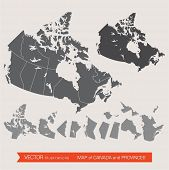 picture of south-western  - Vector detailed map of canada and provinces - JPG