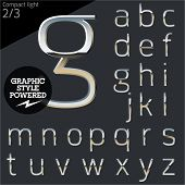 stock photo of alphabet  - Silver chrome and aluminum vector alphabet set - JPG