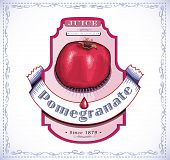 picture of fruit-juice  - Ripe pomegranate fruit on a juice or fruit product label or emblem - JPG