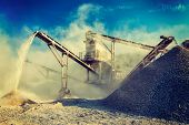 pic of open-pit mine  - Vintage retro effect filtered hipster style image of Industrial background  - JPG