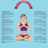 foto of padmasana  - Yoga flat illustration woman in curlers in padmasana posture may be used as a banner card infographics - JPG