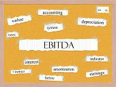 stock photo of amortization  - EBITDA Corkboard Word Concept with great terms such as earnings taxes interest and more - JPG