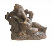 image of hindu-god  - Hindu God Ganesha sculpture isolated white background with clipping path - JPG