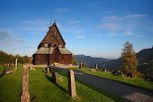 picture of reining  - Beautiful scene with Reinli stave church - JPG