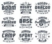 stock photo of softball  - Baseball and rugby college team sport emblems  - JPG