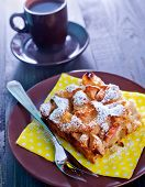 stock photo of pie-in-face  - apple pie on the plate and coffee in cup - JPG