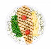 stock photo of pangasius  - Pangasius fillet grilled with vegetables - JPG