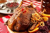 stock photo of barbary duck  - roasted duck on Christmas table - JPG