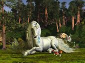 image of bucking bronco  - A unicorn stag lays down to rest among the magic trees of the forest - JPG