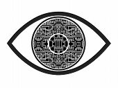 pic of prosthesis  - Concept sign and symbol for a visual prosthesis intended to restore functional vision in case of blindness - JPG