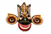 picture of king cobra  - a traditional Sri Lanka Dance mask called Gara Raksha Mask representing the King of the Demons isolated over white - JPG