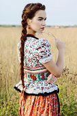 foto of national costume  - Young peasant woman - JPG