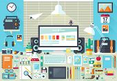 stock photo of mug shot  - Flat modern design vector illustration concept of creative office workspace - JPG
